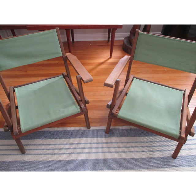 Green Vintage Teak Folding Canvas Chairs - A Pair For Sale - Image 8 of 10