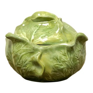 Holland Pottery Mid-Century Botanical Lettuce Serving Bowl With Lid For Sale