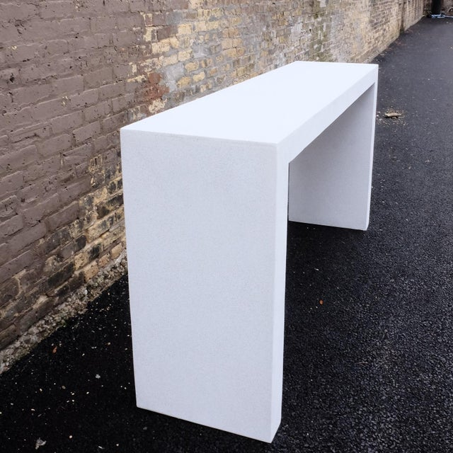 Contemporary Cast Resin 'Lynne Tell' Console Table, White Stone Finish by Zachary A. Design For Sale - Image 3 of 7