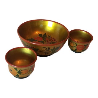 Vintage Russian Lacquerware Set of Bowl & Cups - Set of 3 For Sale