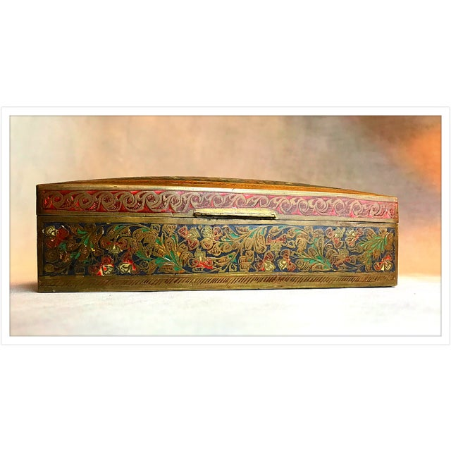 Antique French Enamel Champleve Box For Sale - Image 9 of 11