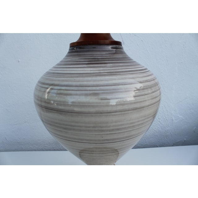Vintage Danish Ceramic and Teak Table Lamp For Sale - Image 5 of 8