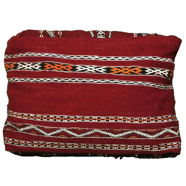 Handmade Moroccan Striped Berber Pouf - Image 3 of 3