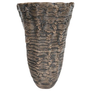 Modernist Ice Cast Patinated Bronze Vase With Wax Finish by Steven Haulenbeek For Sale