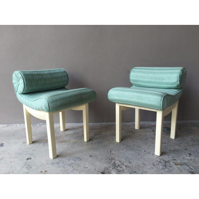 Green 1950s Hollywood Regency Sensual Curvaceous Vanity Stools - a Pair For Sale - Image 8 of 9