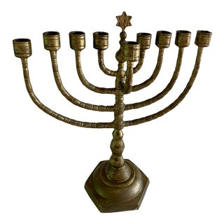 Mid-Century Brass Menorah For Sale