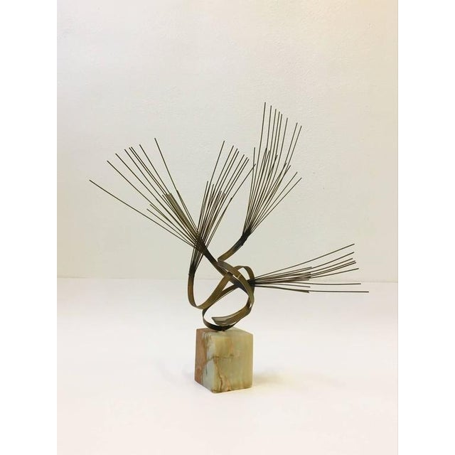 Gilded Steel and Onyx Tabletop Sculpture by Curtis Jeré For Sale - Image 9 of 9