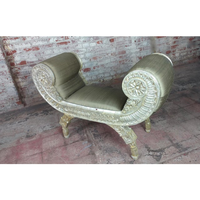 Mid-Century Modern Silver Gilt & Upholstery Vintage Bed or Window Bench For Sale - Image 3 of 10