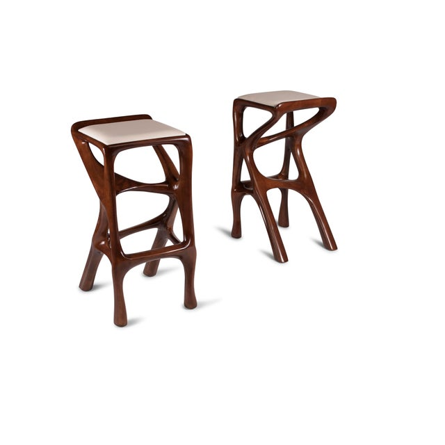 Amorph Chimera Bar Stool, Stained Walnut For Sale - Image 11 of 13