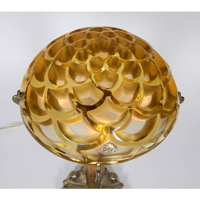 "1930s Table Lamp With a Rene Lalique ""Rinceaux"" Shade For Sale - Image 5 of 10"