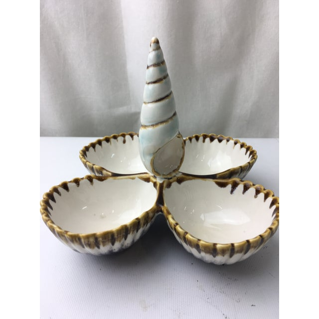 Transitional Majolica Seashell Style Nut Server - Image 2 of 5