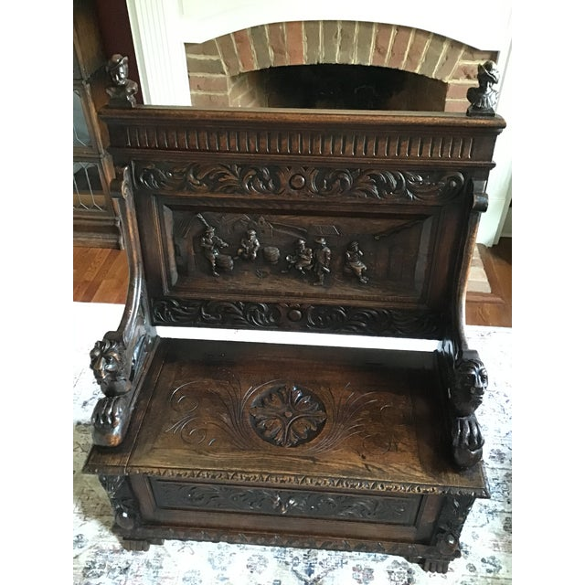 Late 19th Century Antique Carved Oak Bench For Sale - Image 10 of 13