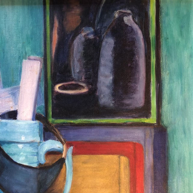 """Original Vintage Modernist Still Life Painting """"The Catchall"""" For Sale - Image 4 of 8"""