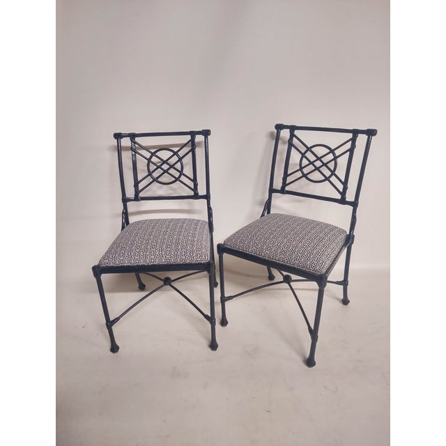 1960s 1960s Vintage Black Patio Chairs in Decorator Fabric - Set of 6 For Sale - Image 5 of 10