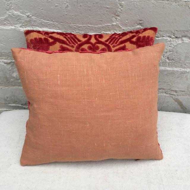 Antique Cut Velvet Textile Pillows - A Pair - Image 5 of 5