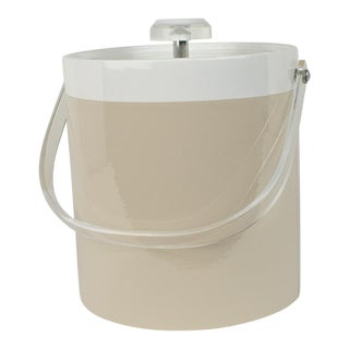 Mid Century Light Taupe and Lucite Ice Bucket