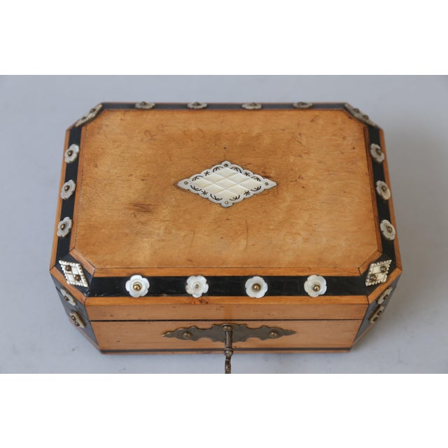 Art Deco French Satin Wood & Mother of Pearl Box, Lock & Key For Sale - Image 3 of 8