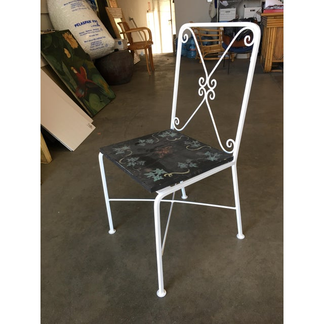 1950s Scrolling Iron Patio/Outdoor Lounge Chair W/ Pad Seat - Set of 4 For Sale - Image 5 of 11
