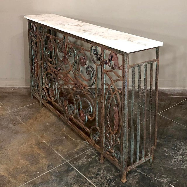 Pair 19th Century Wrought Iron Marble Top Consoles For Sale - Image 4 of 13