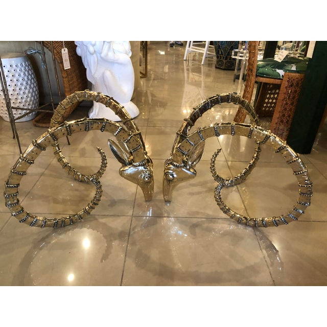 Vintage Hollywood Regency Brass Ibex Rams Head Cocktail Coffee Table -A Pair For Sale - Image 12 of 13