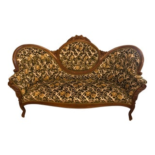 1960s Vintage Victorian Parlor Couch For Sale