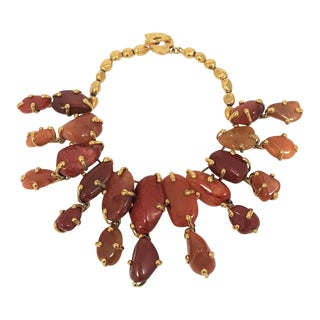Vintage Yves Saint Laurent Cinnabar Agate Necklace For Sale