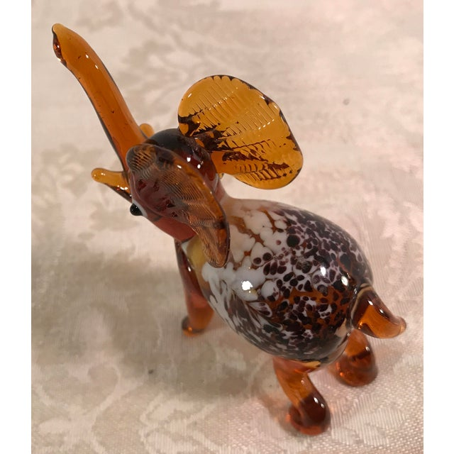 Vintage Blown Art Glass Brown Elephant - Image 8 of 8
