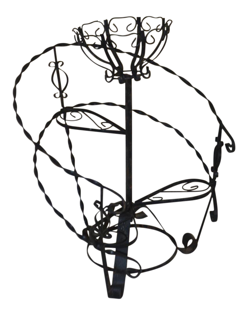 1970s vintage curlicue wrought iron plant stand chairish 1970s Room Decor 1970s vintage curlicue wrought iron plant stand