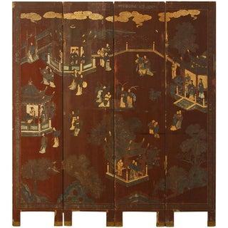 19th C. Four Panel Lacquered Coromandel Screen