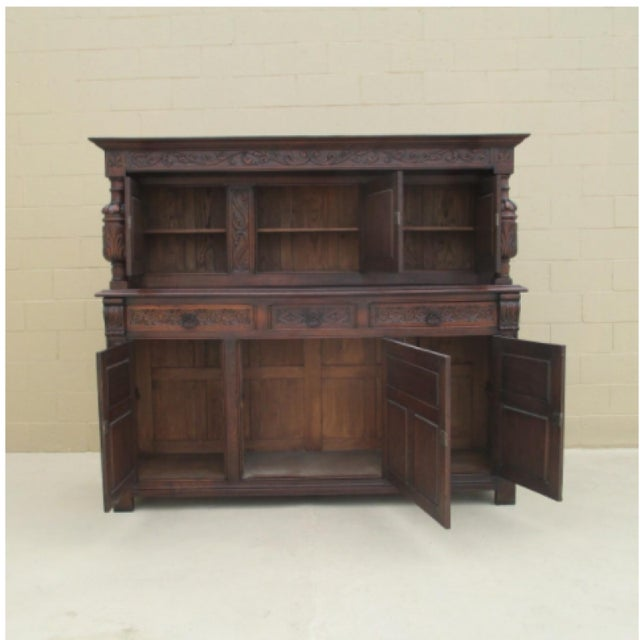 Fabulous french highly carved court cupboard, sideboard, made of solid oak  in excellent antique - French Antique Oak Carved Court Cupboard Sideboard Cabinet Chairish