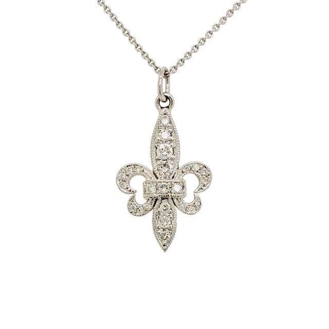 Mid-Century Modern 18k White Gold Fleur De Lis Diamond Pendant on Chain For Sale - Image 3 of 3
