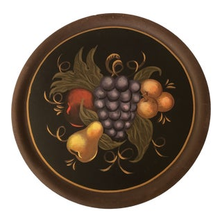 Hand Painted Fruit on Round Black Serving Tray For Sale