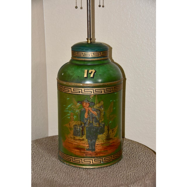Chinoiserie English Tole Tea Canisters by Parnall & Sons Bristol Lamp For Sale - Image 10 of 13