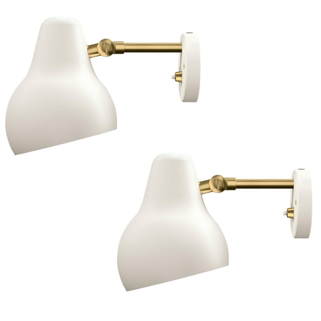 Vilhelm Lauritzen 'Radiohus' sconces for Louis Poulsen. Originally designed in the 1930s by Vilhelm Lauritzen in...