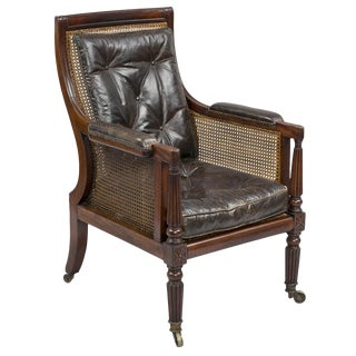 Antique English Regency Mahogany Caned Armchair For Sale