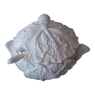 Vintage White Cabbage Leaf Covered Soup Tureen & Ladle For Sale