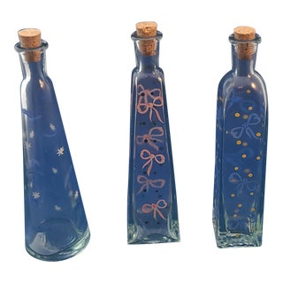 Set 3 Hand Painted Glass Mid Century Apothecary Bottles For Sale
