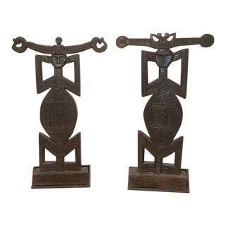 African Carved Wood Figures - a Pair For Sale