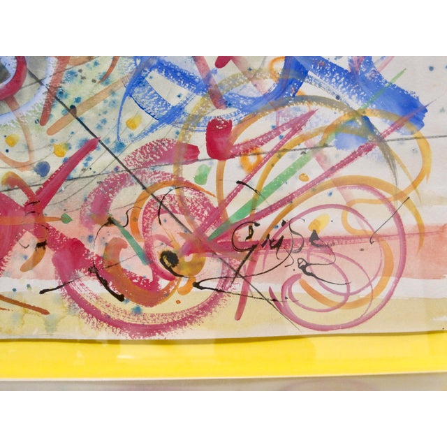 1970s Vintage Hendrick Grise Lyrical Abstract Expressionist Mixed Media Painting For Sale In San Diego - Image 6 of 7