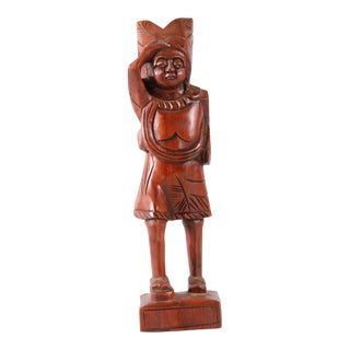 Indian Rustic, Primitive, Hand Carved Dark Wood Statue For Sale