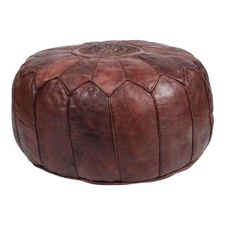 Vintage Mid Century Round Moroccan Leather Pouf For Sale