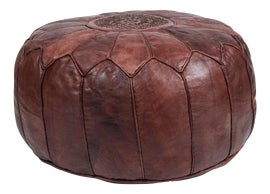 Image of Round Leather Ottomans