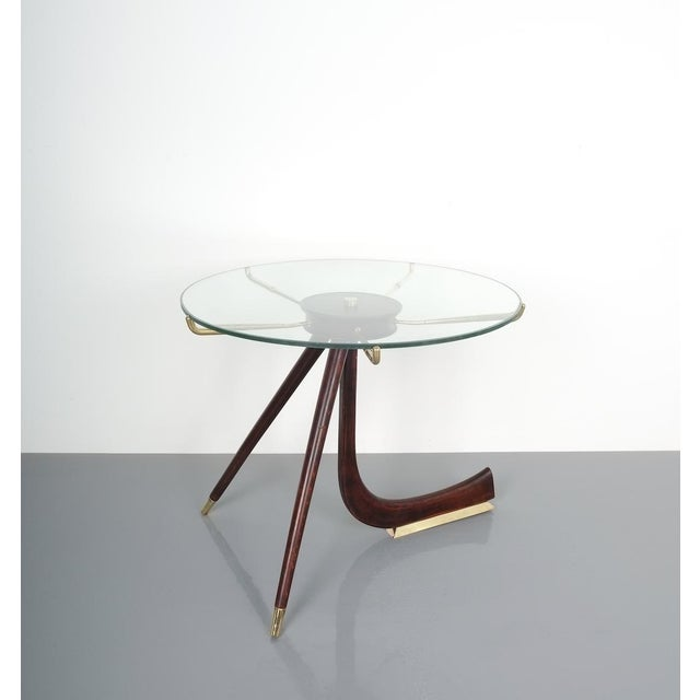 Brevettato Wood Brass Coffee or Side Table, Italy 1955 For Sale - Image 10 of 12