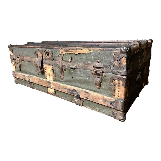 Vintage P & S Co. Wood Leather and Metal Trunk For Sale