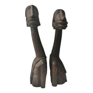 Vintage Mid-Century African Companion Wood Sculptures - A Pair For Sale