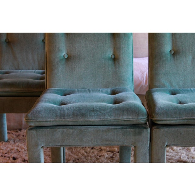 Turquoise 1970s Mid Century Modern Tufted Teal Green Velvet Parsons Dining Chairs Milo Baughman Style - Set of 4 For Sale - Image 8 of 13