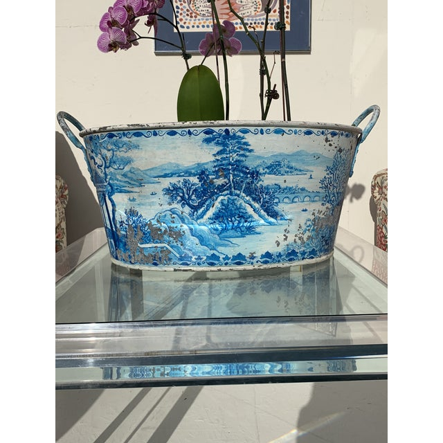 Blue Tole French Style Chinoiserie Planter For Sale In San Diego - Image 6 of 11