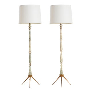Pair of Ico Parisi Style Onyx Floor Lamps For Sale