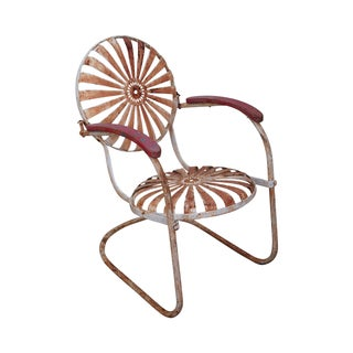 Antique 1930s Sunburst Patio Arm Chair