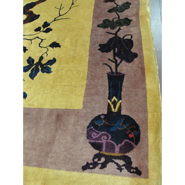 """Gold Antique Chinese Art Deco Rug-8' X 9'8"""" For Sale - Image 8 of 11"""